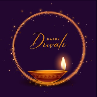 Felice diwali carta festival lucido con un design realistico diya