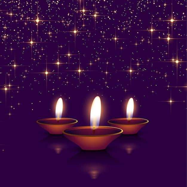 Happy diwali sparkles background with diya