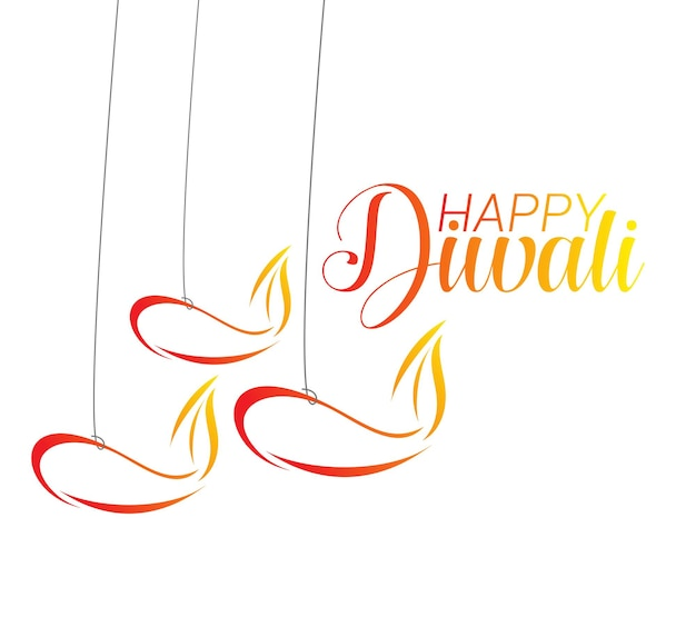 Happy diwali text design. vector illustration.