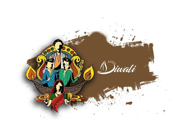Happy diwali text with happy family creative background for diwali festival.