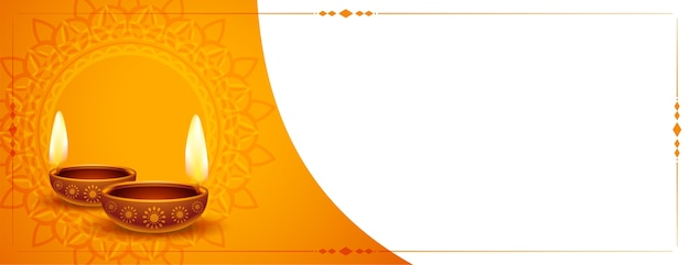 Happy diwali traditional banner with text space