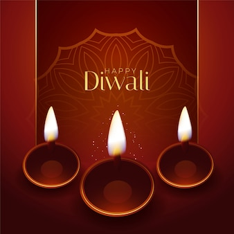 Disegno di saluto tradizionale di festival di diwali felice