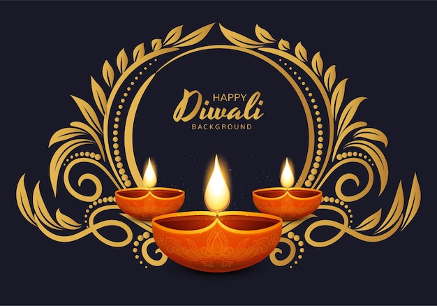 Happy diwali traditional indian diya oil lamp celebration background