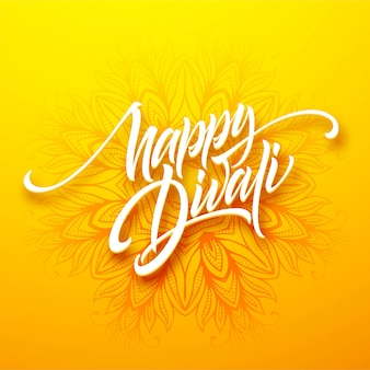 Happy diwali traditional indian festival greeting lettering.