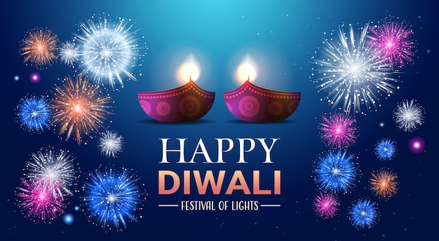Happy diwali traditional indian lights hindu festival celebration banner