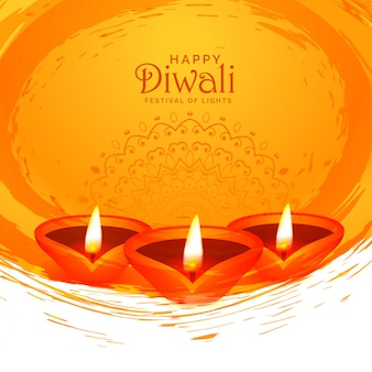 Happy diwali watercolor abstract diya background