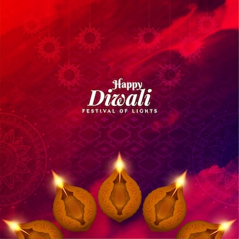 Happy diwali watercolor background with diya