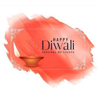 Happy diwali watercolor festival background