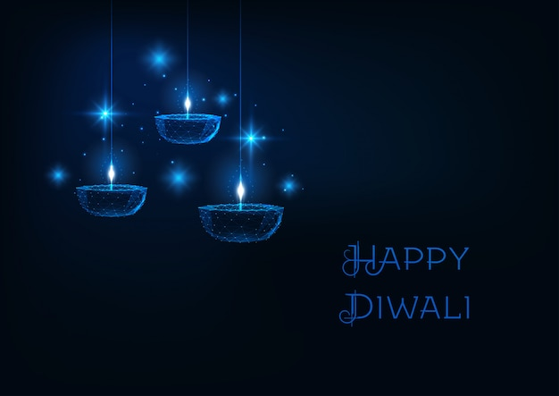 Happy diwali web banner with futuristic glowing low polygonal oil lamp diya on dark blue background.