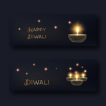 Happy diwali web banners with glowing low poly golden oil lamp diya and text on black .