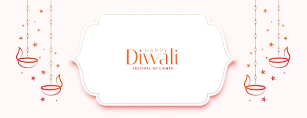 Bandiera bianca felice di diwali con diya e stelle