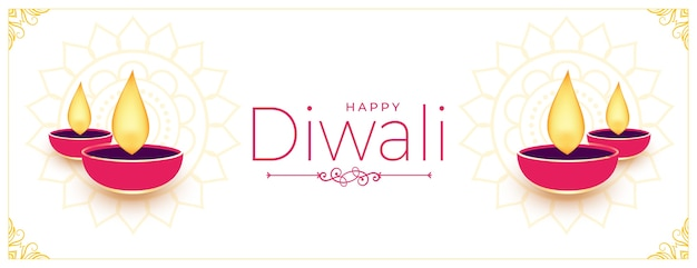 Happy diwali white banner with flat diya design