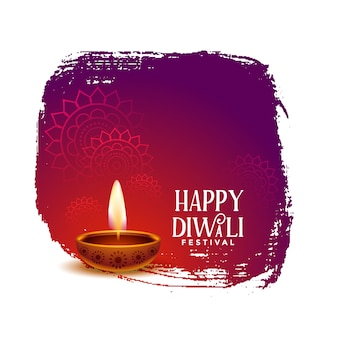 Happy diwali wishes card design with realistic diya
