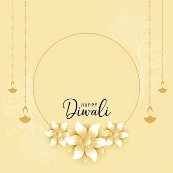 Happy diwali wishes card with flower and diya