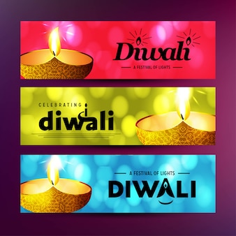 Happy diwali with creative design and typography vector