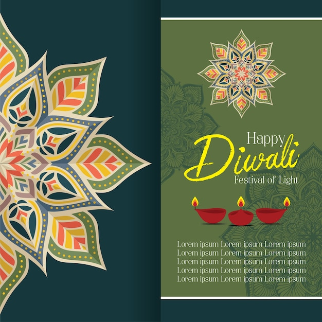 Happy diwali with mandala oil lamp design vector