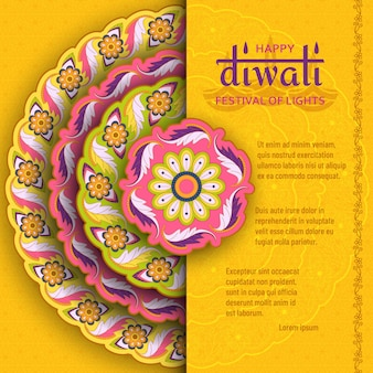 Happy diwali yellow template with floral paisley and mandala. festival of lights
