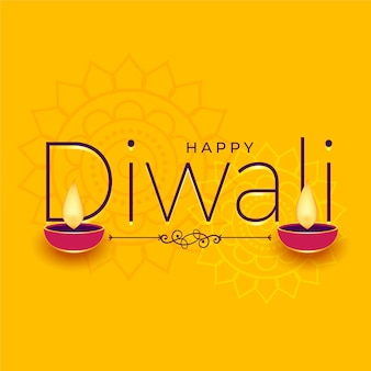 Happy diwali yellow wishes card background