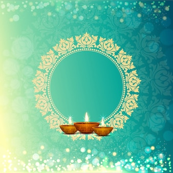 Happy diwaliiのお祝いのための光沢のある花の背景。
