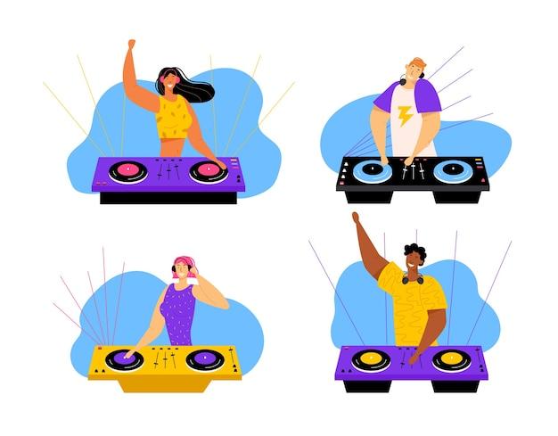 Happy dj male and female characters set