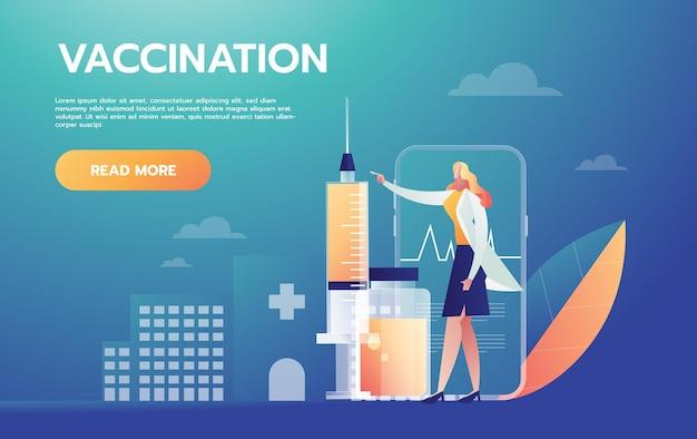 코로나 바이러스 백신 근처에 서있는 행복 한 의사. 흰 코트를 입은 의료진. 예방 접종 시작