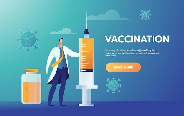 코로나 바이러스 백신 근처에 서있는 행복 한 의사.