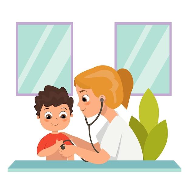행복한 의사는 아이들의 질병을 치료합니다. 청진 기 그림을 사용 하여 의사 나
