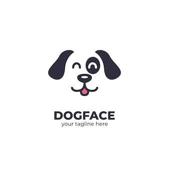 Happy dog face logo Premium Vector