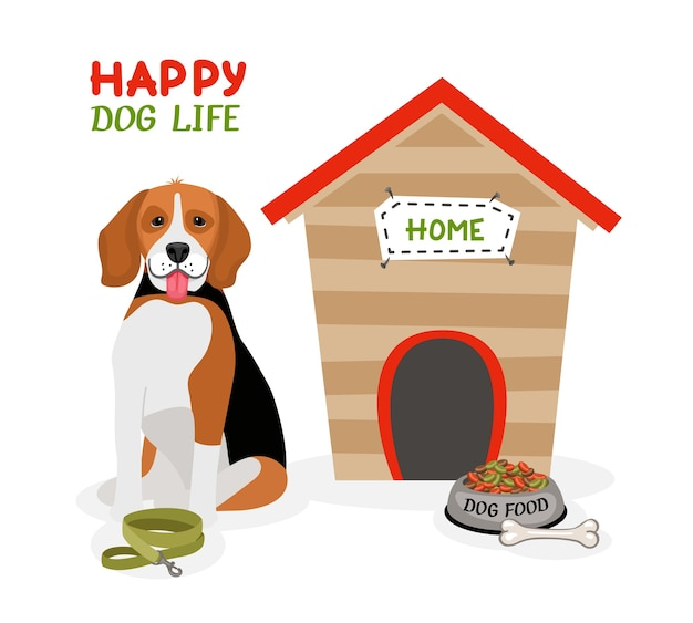 Happy dog life vector poster design with a cute beagle with its tongue out sitting in front of a doghouse with a lead  bone and bowl of food