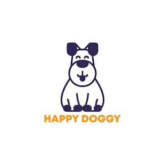 Счастливая собака векторный логотип значок