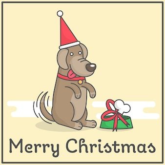 Happy dog with merry christmas gift in cute flat cartoon design for decoration and design