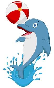 幸せなイルカの漫画の遊びのボール Premiumベクター
