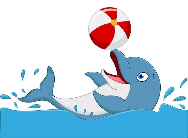 幸せなイルカの漫画の遊びのボール