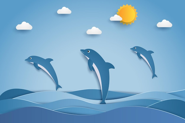 ペーパーアートスタイルで海の波にジャンプする幸せなイルカ