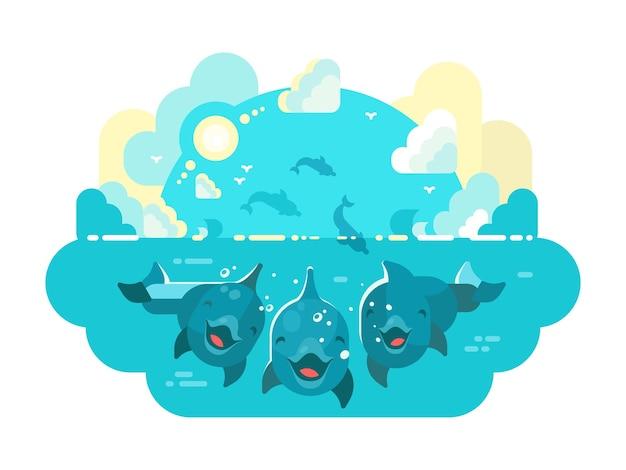 Счастливые дельфины плавают и прыгают в море или океан. векторная иллюстрация