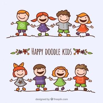 Счастливые дети каракули пакет