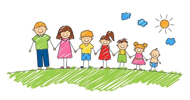 夏の公園で幸せな落書きスティックマン家族。手描きの家族。手をつないでいる母、父と子供たち。白い背景の上の落書きスタイルで分離されたベクトルカラーイラスト。