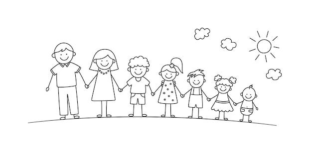 夏の公園で幸せな落書きスティックマン家族。手描きの家族。手をつないでいる母、父と子供たち。白い背景の上の落書きスタイルで分離されたベクトルイラスト。