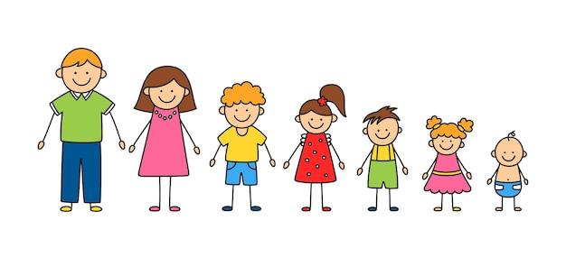 幸せな落書きスティックマン家族。家族の手描きフィギュアのセットです。母、父、そして子供たち。白い背景の上の落書きスタイルで分離されたベクトルカラーイラスト。