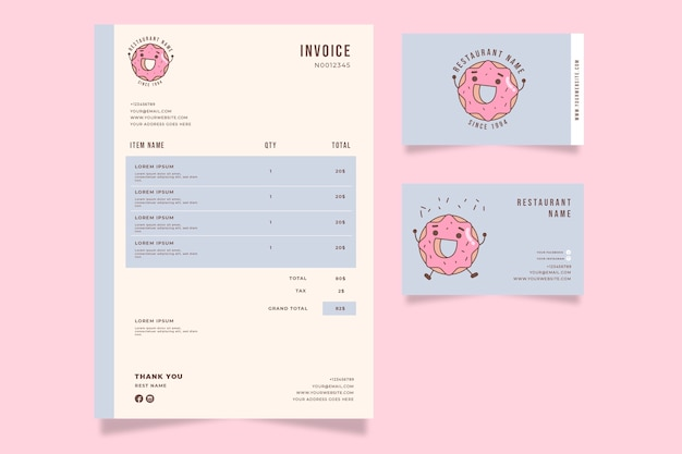 Happy doughnut invoice template
