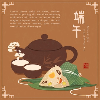 Happy dragon boat festival banner template traditional rice dumpling, bamboo leaf and hot tea pot cup.
