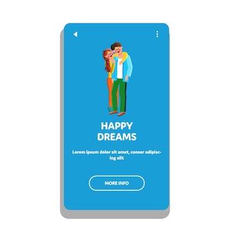 幸せな夢若い家族の男性と女性のベクトル。ポジティブな幸せな夢とカップル、愛を込めて夫を抱きしめる妻。一緒に夢を見ているキャラクターの男の子と女の子webフラット漫画イラスト