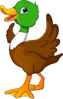 Happy duck cartoon waving