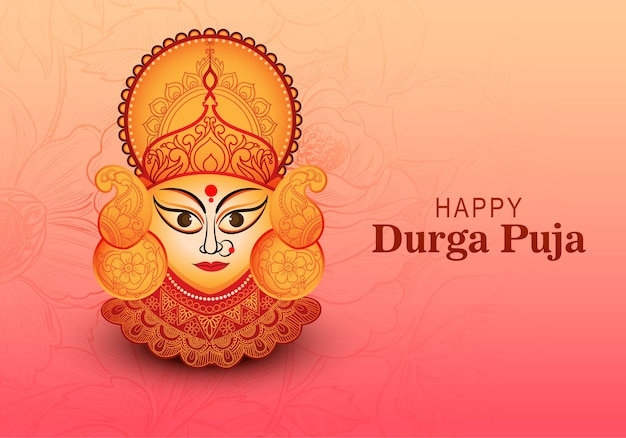Happy durga pooja celebration indian festival beautiful greeting card background