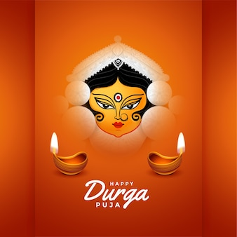 Happy durga pooja festival card with diya design