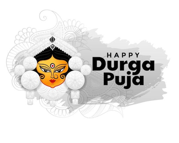 Happy durga pooja hindu festival greeting card