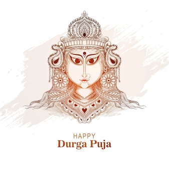 Happy durga pooja indian festival card sketch