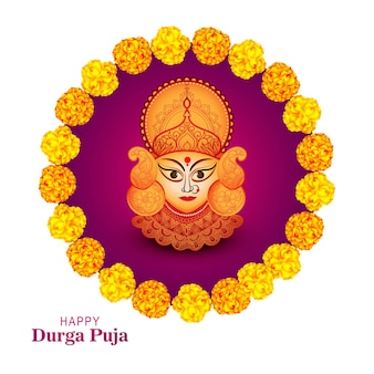 Happy durga pooja indian festival card