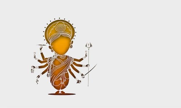 Happy durga puja background goddess durga hand stylish hindi text for hindu festival shubh navratri or durga pooja,