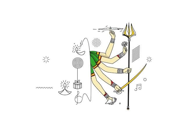 Happy durga puja background goddess durga hand stylish hindi text for hindu festival shubh navratri or durga pooja.